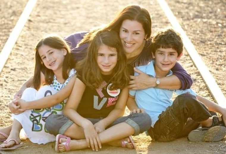 Sarah Maizes and her three children: Week one of Camp Mommy is all smiles.