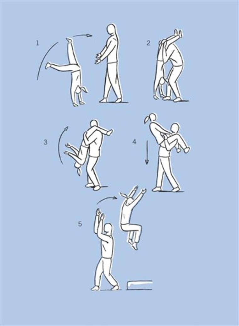 """A diagram of how to properly (and safely) do the Underdog activity, in \""""The Art of Roughhousing.\"""" This book is a parenting guide to good old-fashioned horseplay."""