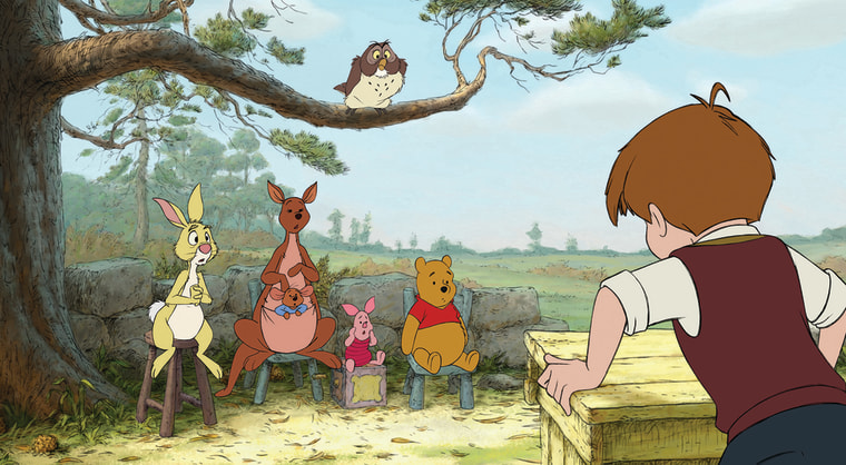 """From the new movie \""""Winnie the Pooh,\"""" here's (from L to R) Rabbit, Kanga, Roo, Piglet, Owl, Winnie the Pooh and Christopher Robin."""