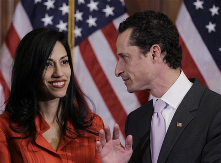 Will she stand by her man? Rep. Anthony Weiner, D-N.Y., and his wife, Huma Abedin, aide to Secretary of State Hillary Rodham Clinton.
