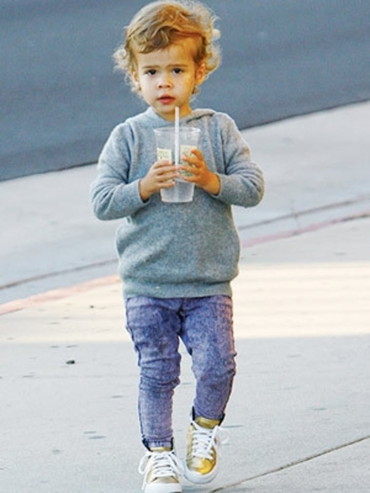 Acid-washed stretch denim... so much cuter on a toddler than on Lindsay Lohan!