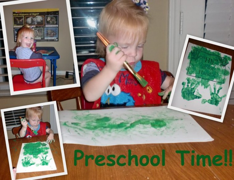 """We try to have \""""Pre-school\"""" time every few days at home. She is two years old!"""