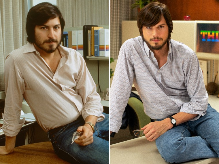Steve Jobs circa 1981 or 1982 is shown at left, and Ashton Kutcher, playing Jobs, is shown at right.