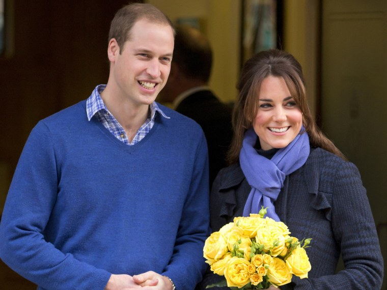 Prince William and Duchess Kate are shown here after she was discharged from the hospital.