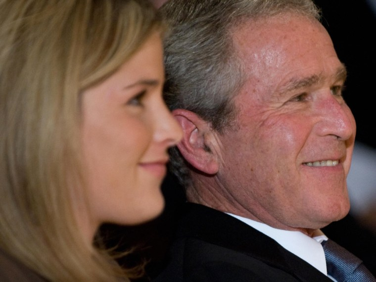 US President George W. Bush and his daughter, Jenna Bush Hager, listen as First Lady Laura Bush addresses the 2008 National Book Festival Gala Perform...
