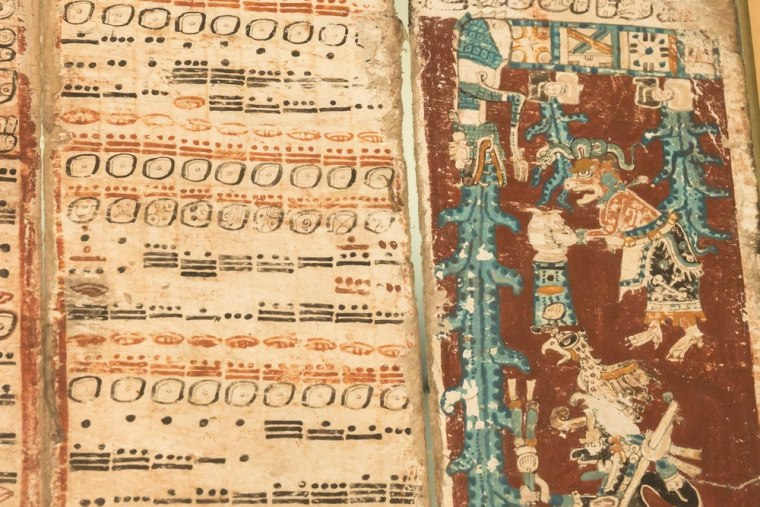 A sky caiman vomits water on one of the last pages of the 12th-century Dresden Codex, also known as the