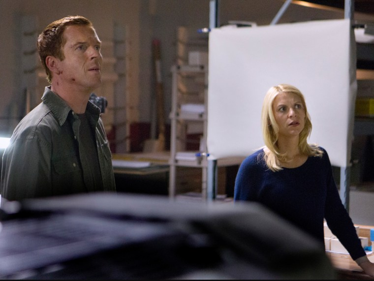 "Damian Lewis as Nicholas Brody and Claire Danes as Carrie Mathison in ""Homeland."""
