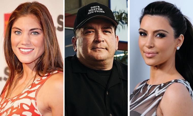 "Hope Solo of ""DWTS,"" Dave Hester of ""Storage Wars,"" and Kim Kardashian of ""Kourtney and Kim Take New York."""