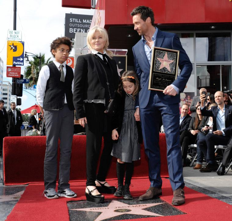 Deborra-Lee Furness and Hugh Jackman with their children, Oscar and Ava.