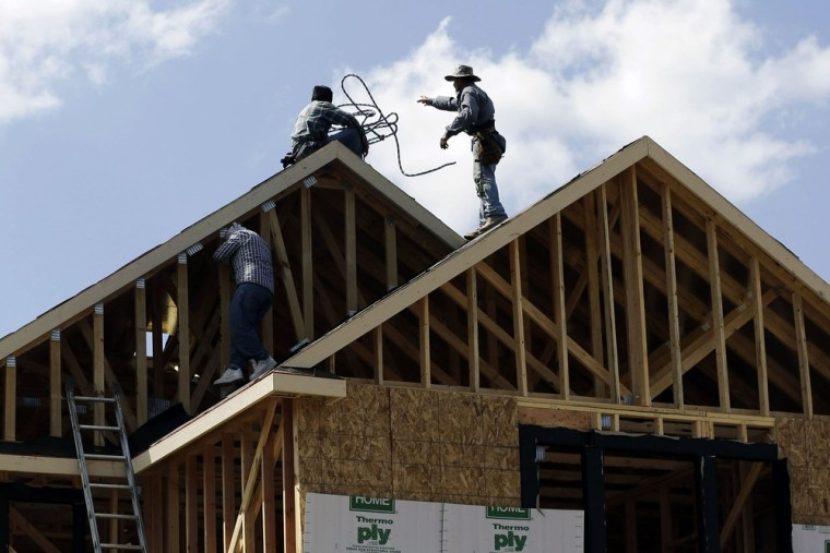 In this Tuesday, Sept. 25, 2012. photo, a house is under construction in San Antonio, Texas. U.S. builders spent more on home construction in Septembe...