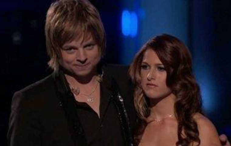 """Voice"" finalists Terry McDermott and Cassadee Pope appeared calm as they waited for the winner to be announced."
