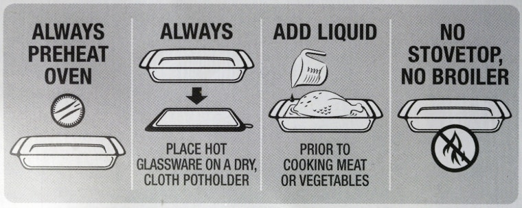 A pamphlet with instructions about proper use is included with every Pyrex product.