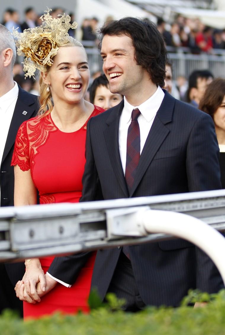 Kate Winslet and Ned Rocknroll in Hong Kong earlier in December.