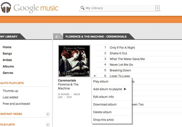 Screenshot of the latest addition to album/song options on Google Music