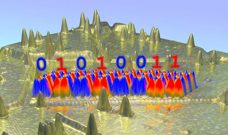Miniaturized information storage in atomic-scale antiferromagnets show the binary representation of