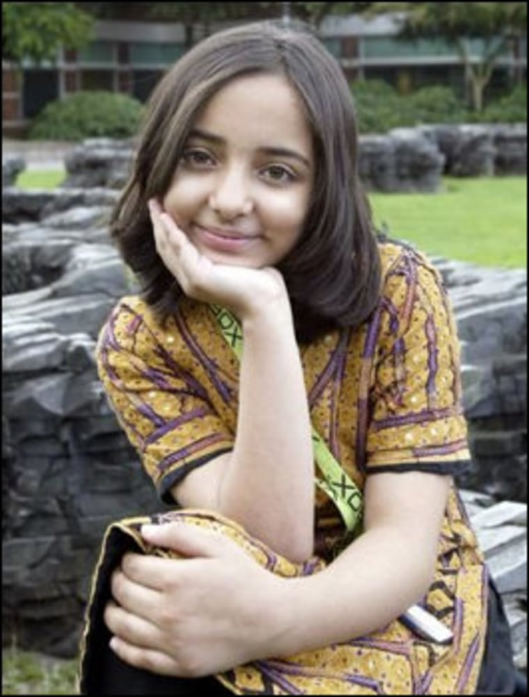 This portrait of Arfa Karim Randhawa, by Dan DeLong, accompanied a Seattle P-I story about her 2005 Microsoft visit.