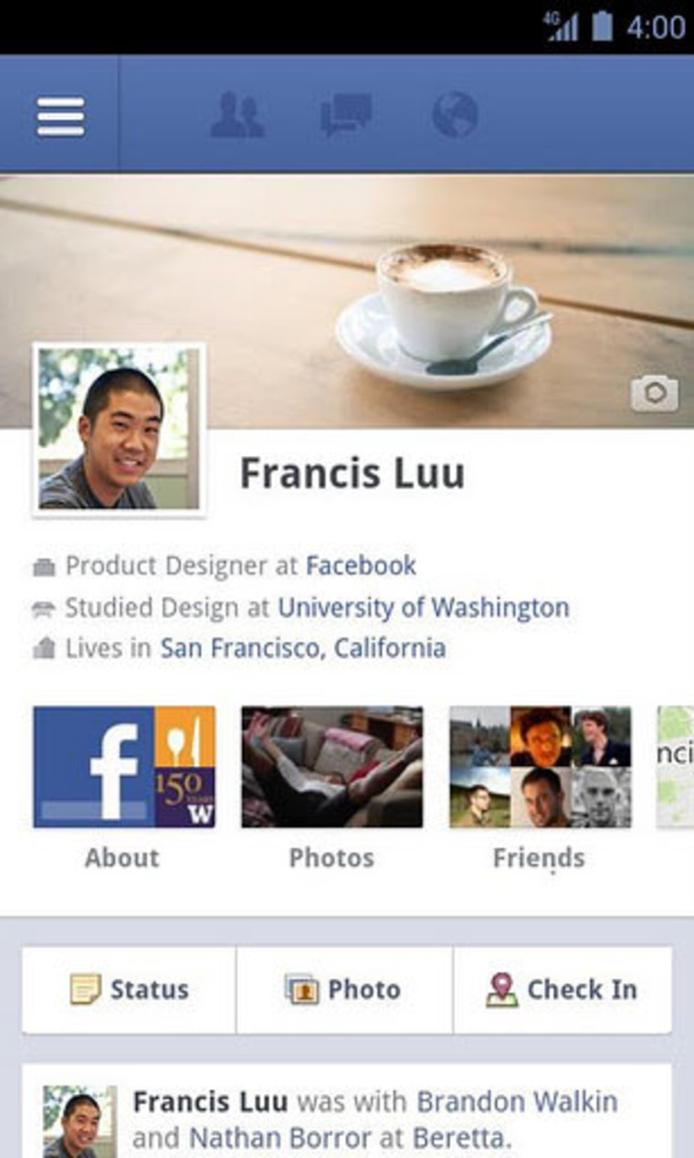 Facebook for Android update, with Timeline
