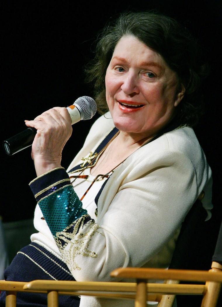 LAS VEGAS - AUGUST 20: Actress Majel Barrett-Roddenberry, widow of Star Trek creator Gene Roddenberry, speaks at the fifth annual official Star Trek convention at the Las Vegas Hilton August 20, 2006 in Las Vegas, Nevada. (Photo by Ethan Miller/Getty Images)