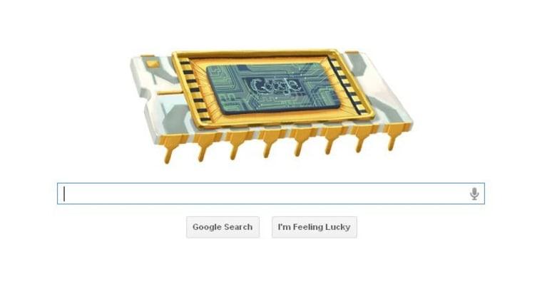 Screengrab of Dec. 12 Google doodle honoring Robert Noyce