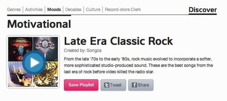 Screenshot of a Songza playlist