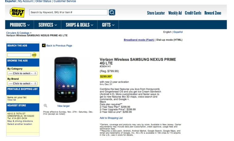 Best Buy Slips Offers Samsung Nexus Prime Early