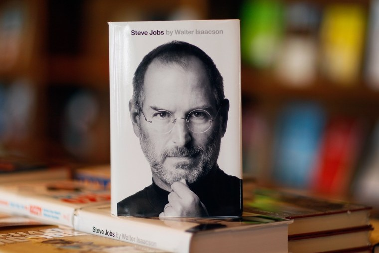 CORAL GABLES, FL - OCTOBER 24: A copy of the newly released biography of Apple co-founder and former CEO Steve Jobs is displayed at the Books & Books store on October 24, 2011 in Coral Gables, Florida. The book written by Walter Isaacson was slated to be released next year by publisher Simon & Schuster but was pushed up after Jobs died on October 5. (Photo by Joe Raedle/Getty Images)