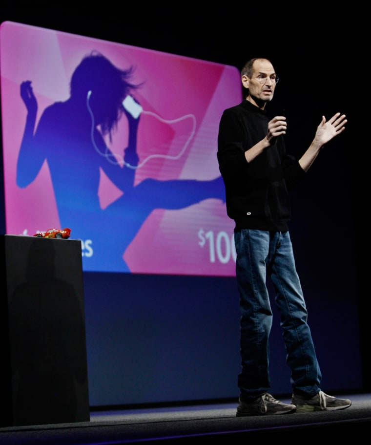 FILE - In this June 6, 2011, file photo, Apple CEO Steve Jobs delivers a keynote address at the Apple Worldwide Developers Conference in San Francisco. Apple on Wednesday, Oct. 5, 2011 said Jobs has died. He was 56. (AP Photo/Paul Sakuma, File)