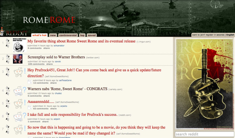 Shown in this screenshot is RomeSweetRome, the Reddit subsection which is home to a story that'll be turned into a Warner Bros. movie.