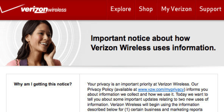 Verizon Wireless has information about changes to its customers' privacy on its website (see link in story).