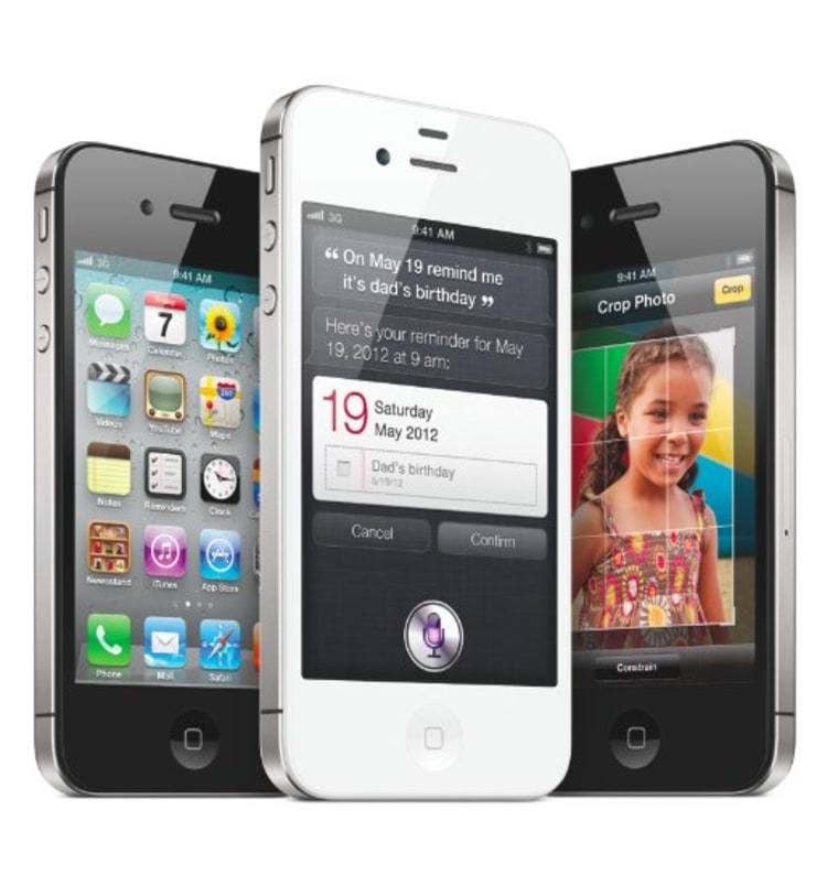 iPhone 4S, with Siri showing front and center