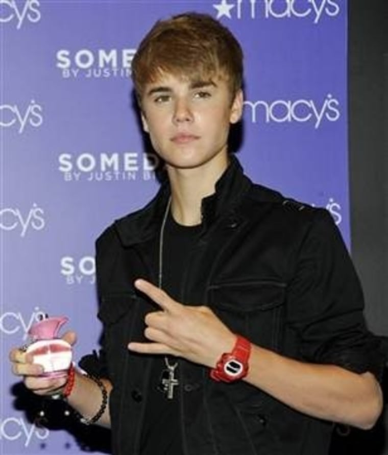 """Justin Bieber makes an appearance at Macy's to launch his new fragrance \""""Someday\"""" on Thursday, June 23, in New York"""