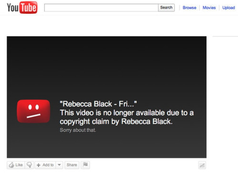 """Instead of Rebecca Black's \""""Friday\"""" video, YouTube now presents us with a disappointing message."""