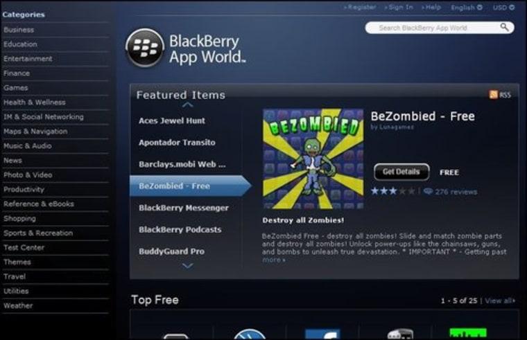 BlackBerry App World hits the Web