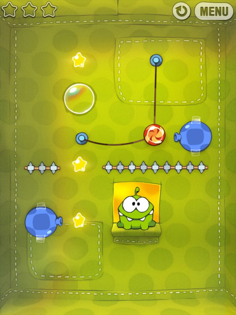 """""""Cut the Rope"""" - which stars Om Nom the candy-craving monster - has been downloaded from Apple's App Store 1 million times in just nine days. That's a record."""