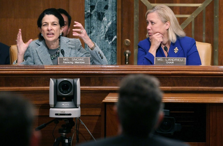 Sen. Olympia Snowe. left, questions Treasury Secretary Timothy Geithner while Sen. Mary Landrieu, right, listens during a Senate Small Business and Entrepreneurship Committee hearing on Capitol Hill, Oct. 18, in Washington, DC. The committee is hearing testimony on