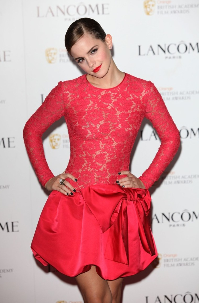 LONDON, ENGLAND - FEBRUARY 10:  Emma Watson attends special pre-Orange British Academy Film Awards party, hosted by Lancome at The Savoy Hotel on February 10, 2012 in London, England.  (Photo by Tim Whitby/Getty Images)