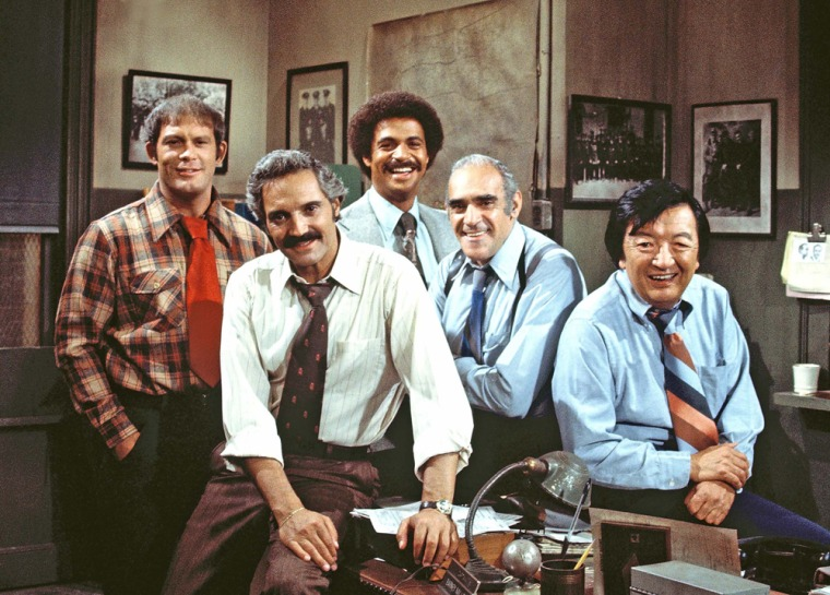 """BARNEY MILLER - \""""Evacuation\"""" - Season Three - 9/23/76Wojo (Max Gail) discovered that the city hadn't updated emergency evacuation procedures, and Fish (Abe Vigoda) met his future foster daughter. Hal Linden (Barney), Ron Glass (Harris) and Jack Soo (Yemana) also starred.(ABC PHOTO ARCHIVES)"""