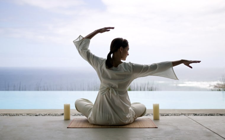Woman in yoga position msnbc stock photography photo exercise stretch