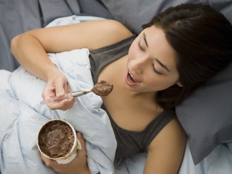Almost 40 percent of single women say they'd choose their favorite food over sex for a year -- and chocolate ice cream would be a good option.