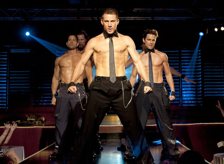 """Adam Rodriguez, Kevin Nash, Channing Tatum and Matt Bomer (left to right) play strippers in """"Magic Mike."""""""