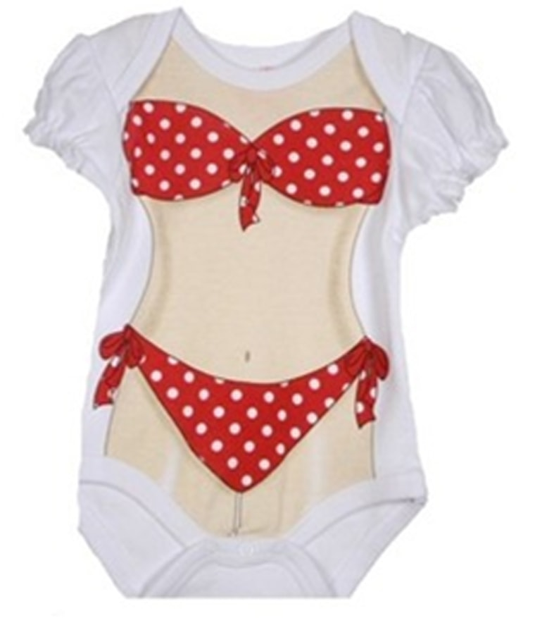 This bikini onesie, manufactured by Bon Bebe, is sparking controversy among parents.