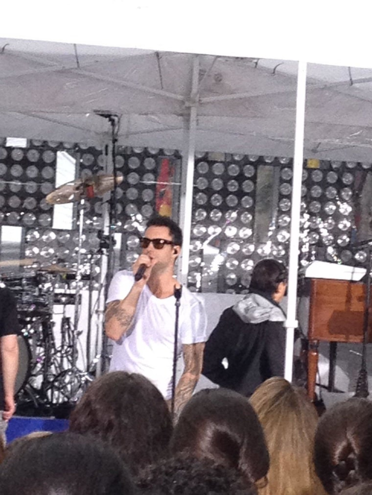 Early morning rain didn't put a damper on Maroon 5's sound check.