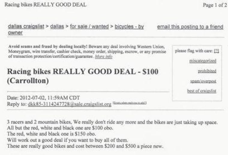 Part of the Craigslist ad that offered the stolen bikes for sale.