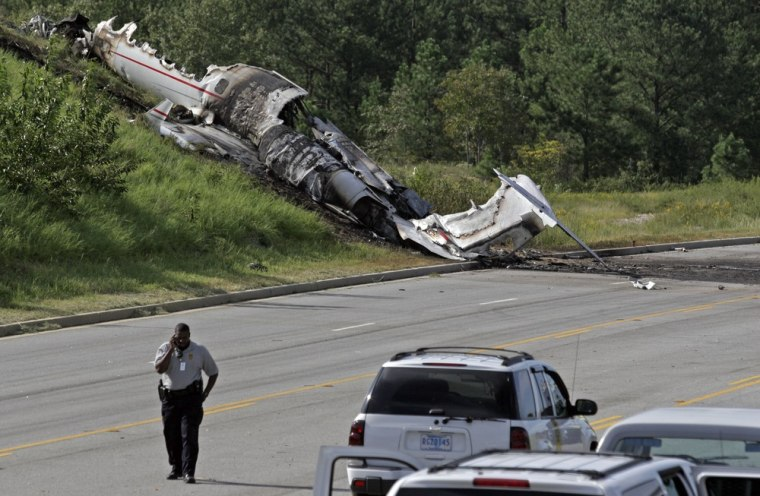 The wreckage of a Learjet that was carrying Travis Barker and five others after it crashed in Columbia, S.C., in September 2008.