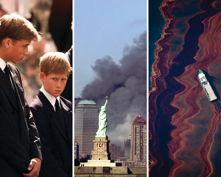 Princes William and Harry at Princess Diana's funeral, the Sept. 11 World Trade Center Attacks and the BP oil spill in the Gulf of Mexico.