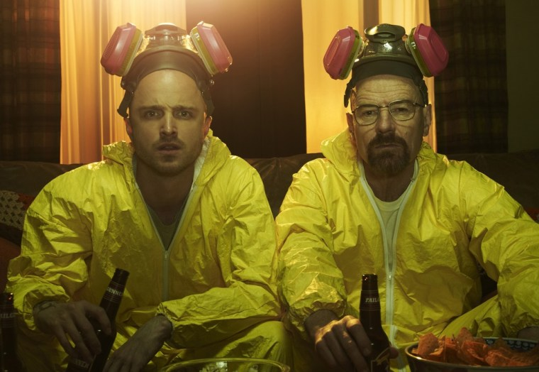 "Jesse Pinkman (Aaron Paul) and Walter White (Bryan Cranston) on AMC's ""Breaking Bad."""