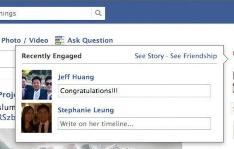 Now you can send a special message of congratulations to friends on Facebook who get engaged or married.
