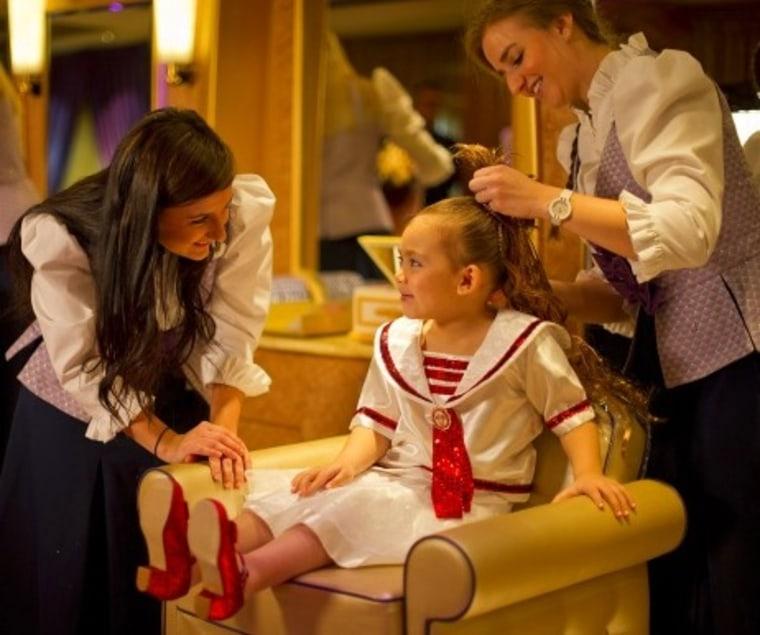 Mini spa-goers can get hair extensions and glittering ensembles at Disney's Bibbidi Bobbidi Boutiques.