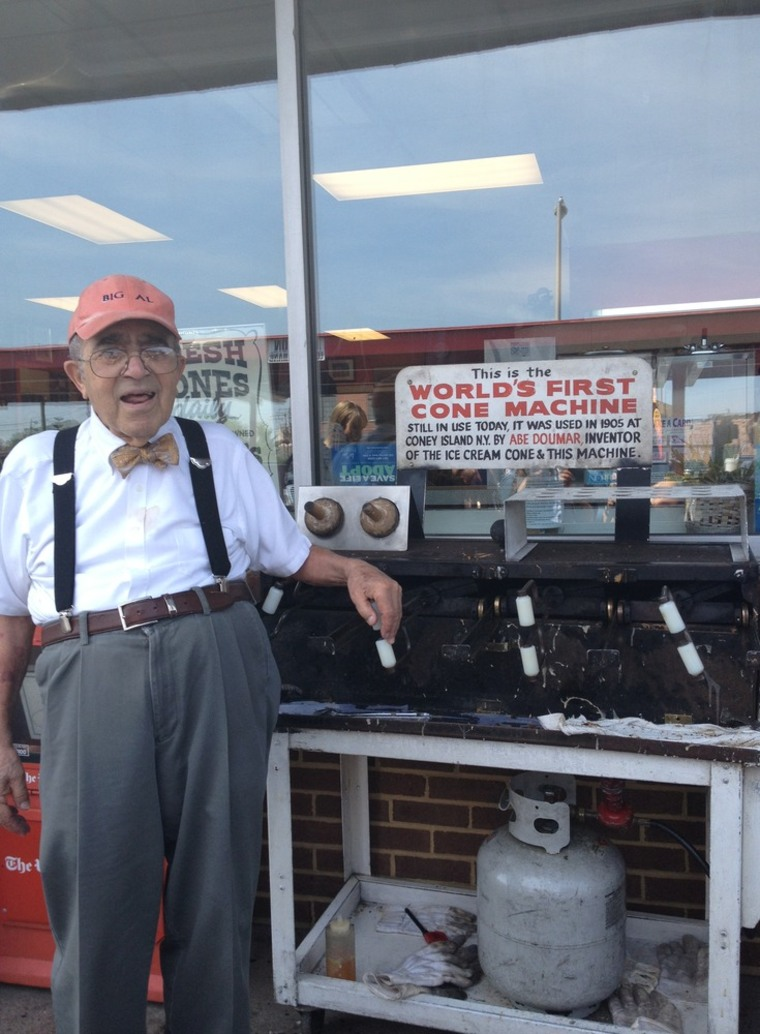 Albert Doumar, whose uncle Abe invented the  waffle cone in 1904, will be cranking out cones this weekend.