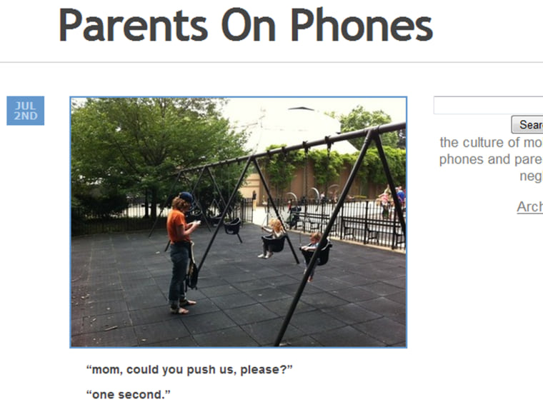 A new Tumblr mocks parents for being on their phones... because heaven forbid we take our attention away from the little darlings for one second.